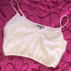 Charlotte Russe Tops - Lace white crop top